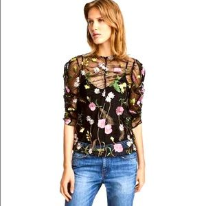 H&M sheer floral blouse